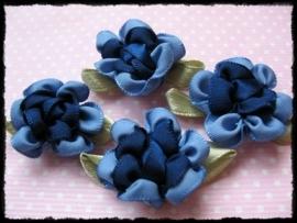 Satijnen bloem met gekruld blad, donkerblauw - 3 stuks - 3 cm.