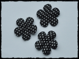 Satijnen bloemetje, zwart polkadot - 4 stuks - 3,5 cm.