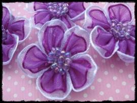 Organza bloemetjes paars - 3 stuks - 3 cm.