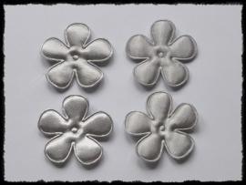 Satijnen bloemetjes, grijs - 3,5 cm.