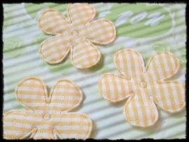 Geruite bloem, geel - 4 stuks - 35mm