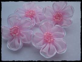 Organza bloemetje, lichtroze met kraatljes - 3 stuks - 3 cm
