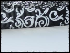 Grosgrain zwart / zilver barok, 5m.
