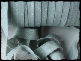 Elastisch band, zilvergrijs glitter - 16mm.