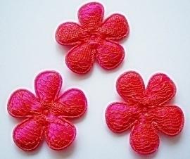 Satijnen bloemetjes, fuchsia met koraal kant - 4 stuks - 35mm