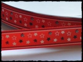 Grosgrain met sterren, rood - 5 meter - 16mm.