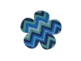 Katoenen bloemetjes, aztec blauw - 4 stuks - 35mm.