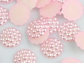 Flatback bloemetjes, roze - 10 stuks - 13mm.