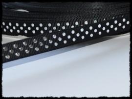 Grosgrain, zwart met zilveren stipjes, 5m.