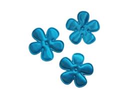 Satijnen bloemetjes, turqoise - 4 stuks - 3,5 cm.