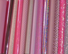 Setje lapjes leer, roze tinten - 13 stuks