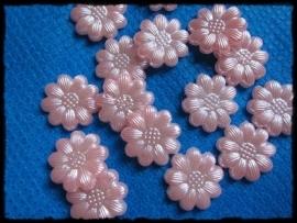 Flatback bloemetjes, roze - 10 stuks - 12mm.