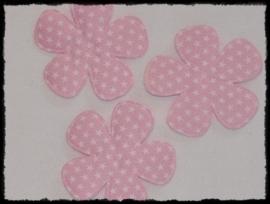 Katoenen bloemetjes, roze met sterren - 4 stuks - 47mm