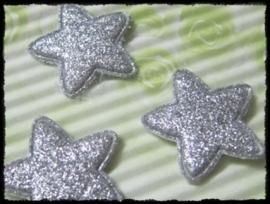 Sterren, zilver glitter - 4 stuks - 25mm.
