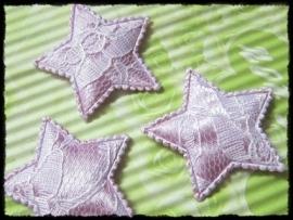 Sterren, lila satijn met kant - 4 stuks - 35mm