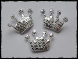 Kroontje met pailletten, zilver - 4 stuks - 4 cm.