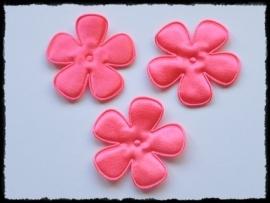 Satijnen bloemetjes, NEON-roze - 4 stuks - 47mm