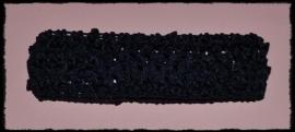 Gehaakte haarband - donkerblauw - 4 cm.