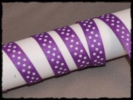 Grosgrain 10mm, paars polkadot - 5 meter