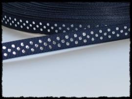 Grosgrain, d.blauw met zilveren stipjes, 5m.