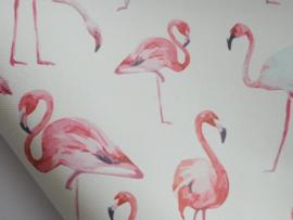 Lapje PU leer met flamingo, wit - 20 x 22 cm.