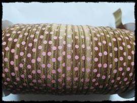 Elastisch band, bruin met roze stip - 16mm