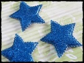 Sterren, blauwe glitter - 4 stuks - 35mm.