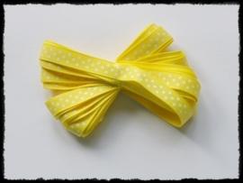 Grosgrain 10mm, geel polkadot - 5 meter