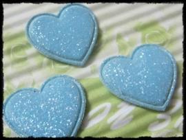 Hartjes, lichtblauw glitter - 4 stuks - 20mm.