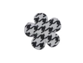 Katoenen bloemetjes, aztec zwart/wit - 4 stuks - 25mm.