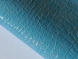 Lapje slangenleer, aqua- 20 x 22 cm.