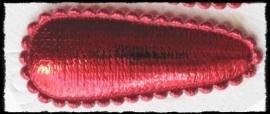 (md) Haarknipjes incl knipjes - rood (kerstrood) satijn - 4.5 cm.