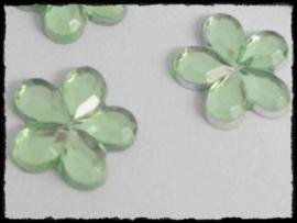 Flatback bloemetjes, lichtgroen - 10mm - 10 stuks