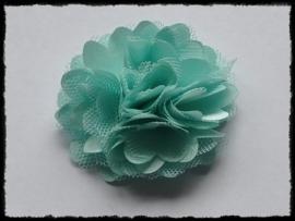 XL-bloem satijn met tule, mint - 5 cm.