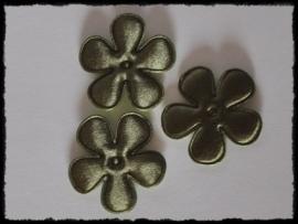 Satijnen bloemetjes, legergroen - 4 stuks - 35mm.