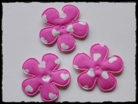 Katoenen bloemetjes, fuchsia met hartjes - 4 stuks - 35mm.