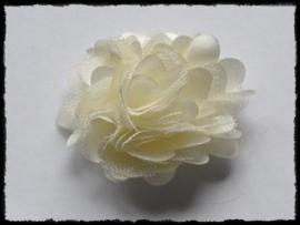 XL-bloem satijn met tule, creme / ivoor - 5 cm.