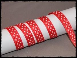 Grosgrain 10mm, rood polkadot - 5 meter