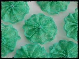(md)  bloem van kant, jade groen (donker mint) - 3 stuks - 4 cm..