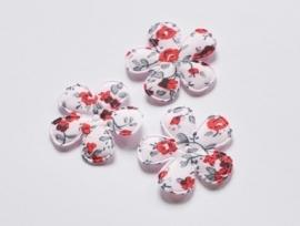 Katoenen bloemetjes, lichtroze met rode roosjes - 4 stuks - 35mm.