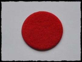 Rondjes van vilt, rood- 4 stuks - 3,5 cm.