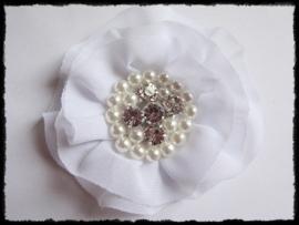 XL-bloem - luxe chiffon met parels en strassteentjes, wit - 9 cm.