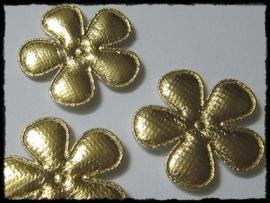 Satijnen bloemetjes, goud - 4 stuks - 47mm.