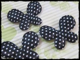 Satijnen vlinders, zwart polkadot - 4 stuks - 45mm