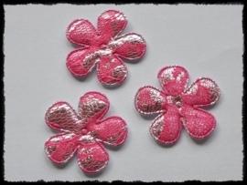 Satijnen bloemetjes, zilver met fuchsia kant - 4 stuks - 35mm