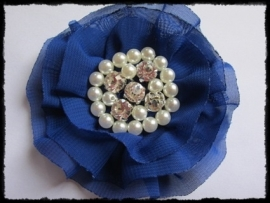 XL-bloem - luxe chiffon met parels en strassteentjes, kobalt - 9 cm.