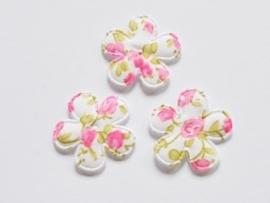 Katoenen bloemetjes, wit met felroze roosjes - 4 stuks - 25mm.