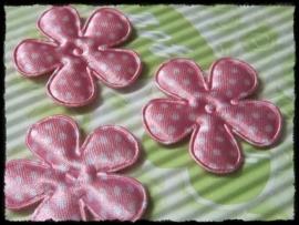 Satijnen bloemetje, roze polkadot - 4 stuks - 3,5 cm.