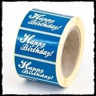 Etiketten `Happy birthday` - blauw - 10 stuks