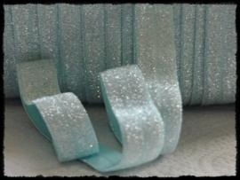 Elastisch band sparkling, blue mint - 16mm.